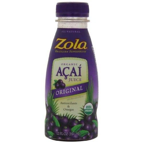 Zola Brazilian Superfruits Acai Original Juice, 12-Ounce Bottles (Pack of 12)