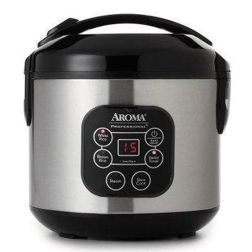 Aroma 8-Cup Stainless Steel Digital Rice Cooker (Grey)