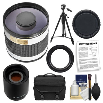 Rokinon 500mm f/6.3 Multi-Coated Mirror Lens with 2x Teleconverter (=1000mm) + Tripod + Case + Accessory Kit for Canon EOS 60D, 7D, 5D Mark II III, Rebel T3, T3i, T4i Digital SLR Cameras