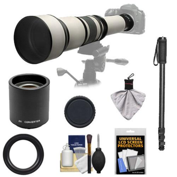 Rokinon 650-1300mm f/8-16 Telephoto Zoom Lens with 2x Teleconverter (=650-2600mm) + Monopod Kit for Sony Alpha DSLR SLT-A35, A37, A55, A57, A65, A77 Digital SLR Cameras
