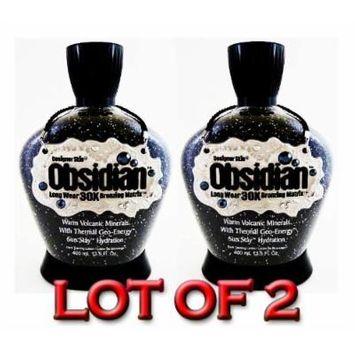 Lot of 2 Obsidian 30x Bronzer Tanning Lotion 13.5 Oz By Designer Skin