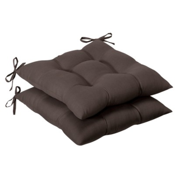 Pillow Perfect Outdoor 2-Piece Tufted Chair Cushion Set - Brown