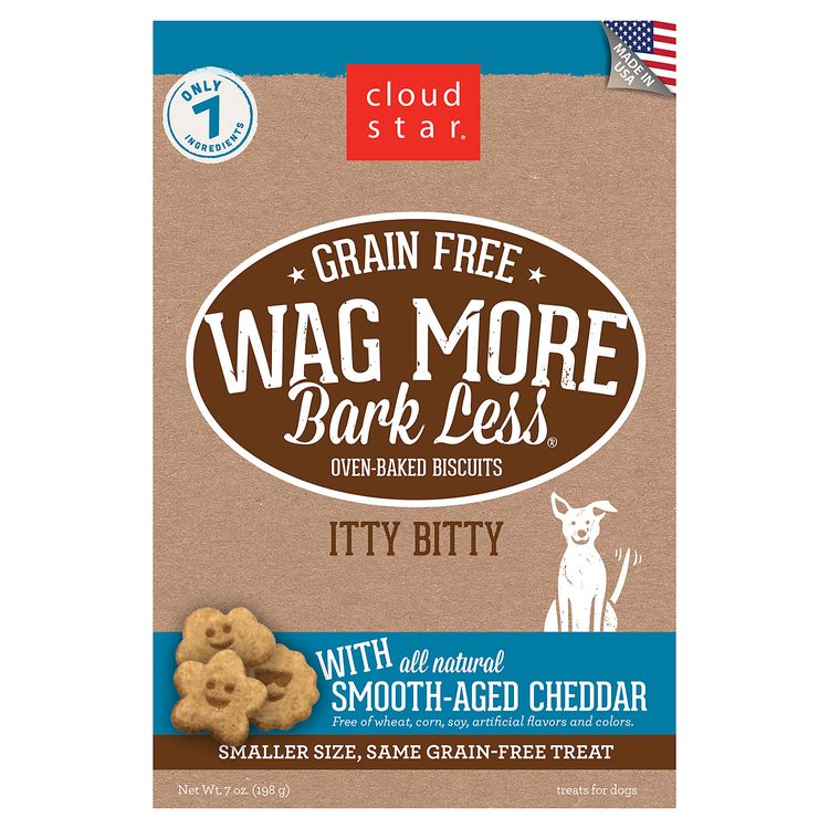 Cloud Star Wag More Bark Less Oven Baked Grain Free Itty Bitty Smooth Aged Cheddar Dog Treats