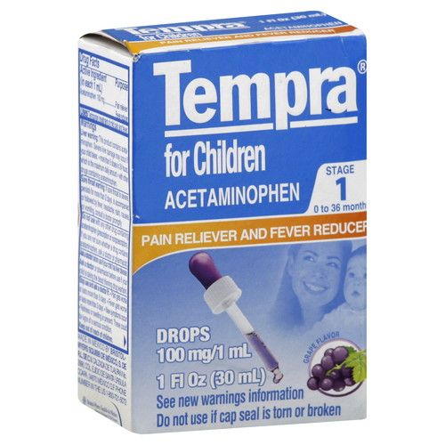 Tempra Pain Reliever and Fever Reducer, for Children, 0 to 36 Months, Grape Flavor, 1 fl oz (30 ml) [100 mg (1 ml)]
