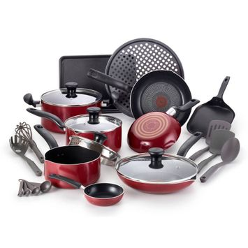 T-Fal Simply Cook Nonstick Cookware, 20 piece Set, Red, B041SKFT