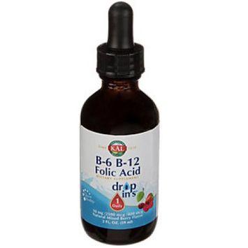 B-6 B-12 Folic Acid Dropins 10,000 mcg Kal 2 oz Liquid