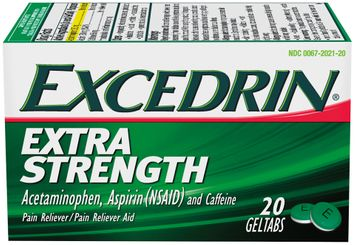 Excedrin® Extra Strength Acetaminophen, Aspirin (NSAID) and Caffeine Pain Relief/Pain Relief Aid Geltabs 20 ct Box