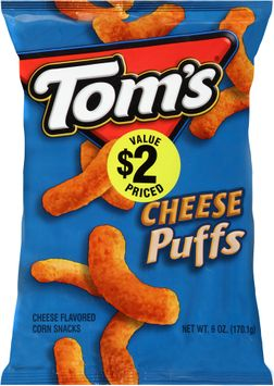 tom's® cheese puffs cheese flavored corn snacks
