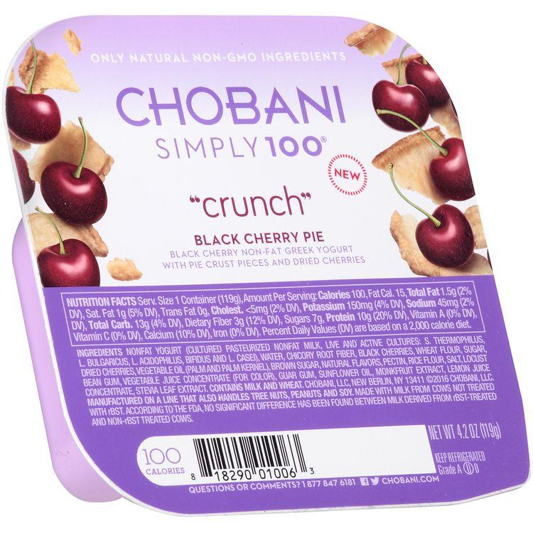 "Chobani® Simply 100® ""Crunch"" Black Cherry Pie Non-Fat Greek Yogurt"