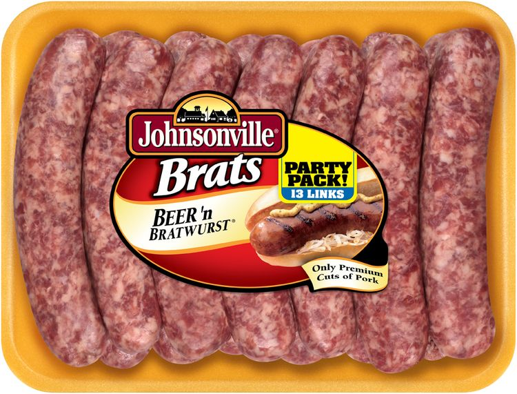 Johnsonville Beer Brats 3.08lb Party Pack tray (102497)