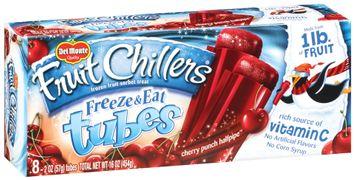 Fruit Chillers™ Cherry Punch Halfpipe Freeze & Eat Tubes Frozen Fruit Sorbet Treat 8 Ct Box