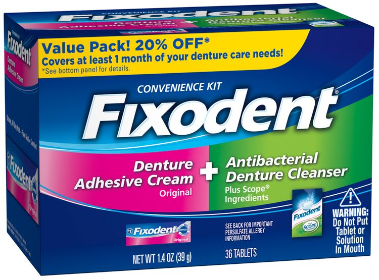 Fixodent Complete Denture Convenience Kit Box