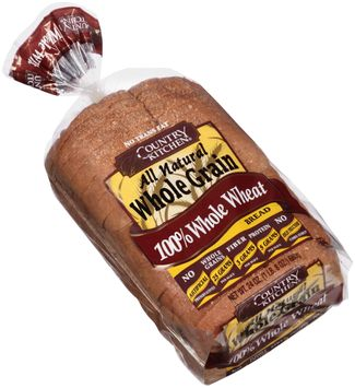 country kitchen® all natural whole grain 100% whole grain wheat bread