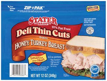 Stater bros Baked Honey Deli Thin Cuts Turkey Breast