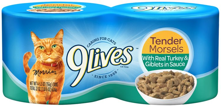 9Lives Tender Morsels with Real Turkey & Giblets in Sauce Wet Cat Food