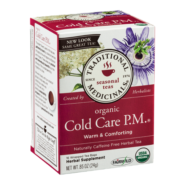 Traditional Medicinals Caffeine Free Herbal Tea Bags Organic Cold Care P.M. - 16 CT