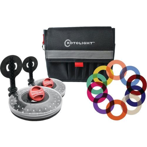 Rotolight Interview Lighting Kit w/ 2 HD LED Stealth Ringlights, 2 Stands & Color Filters Also Includes Belt Pouch
