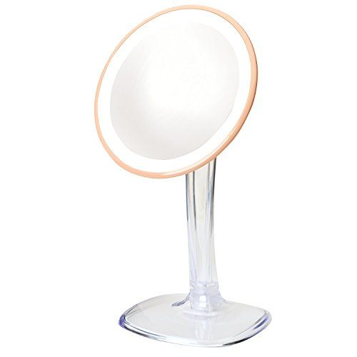Jerdon JS725RL 7.25-Inch LED Lighted Single-Sided Vanity Mirror with 5X Magnification