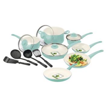 Green Pan GreenLife 15 Piece Ceramic Cookware Set - Turquoise