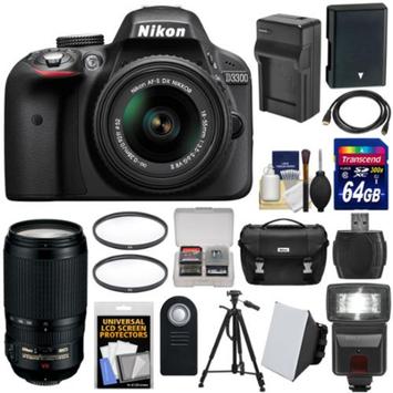 Nikon D3300 Digital SLR Camera & 18-55mm G VR DX II AF-S Zoom Lens (Black) with 70-300mm VR Lens + 64GB Card + Case + Flash + Battery & Charger + Tripod Kit