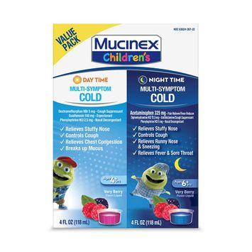 Mucinex Children's Multi-Symptom Day & Night Cold Relief Liquid, 2 x 4 Ounce