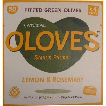 Oloves Lemon & Rosemary Pitted Green Olives Snack Packs, 1.1 oz, 4 count