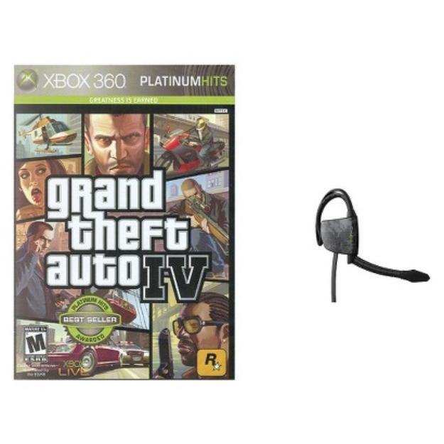 Xbox 360 Game GTA IV+Gioteck Headset