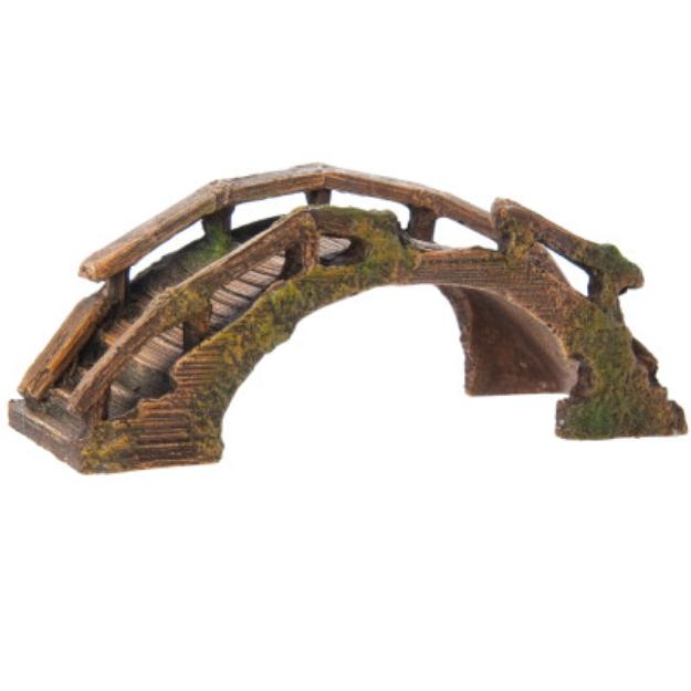Top Fin Asian Wooden Bridge Aquarium Ornament