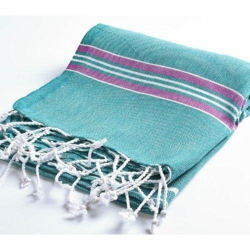 "Cacala 100% Cotton Pestemal Turkish Striped Bath Towel, 37 x 70"", Aqua/Purple [Aqua/Purple]"