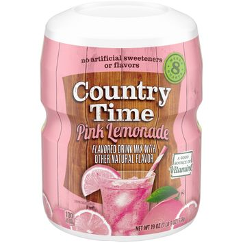 Country Time Pink Lemonade Powder Drink Mix, flavored with other natural flavors 19 oz. Container