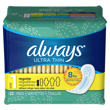 Always Ultra Thin Size 1 Regular Pads Without Wings, Unscented
