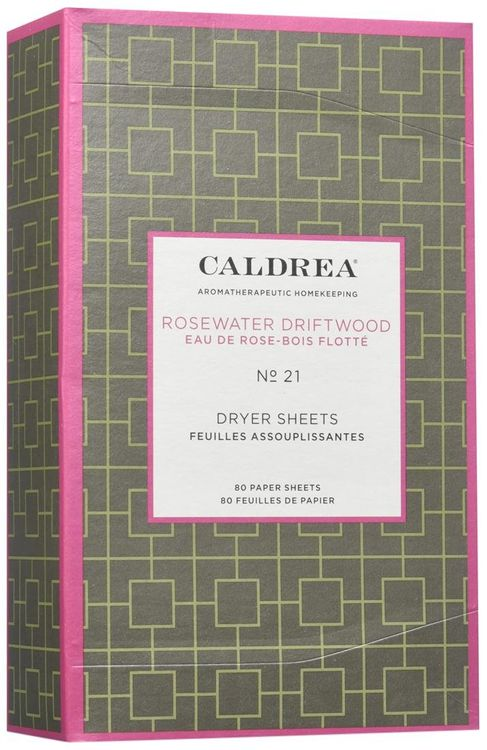 Caldrea Dryer Sheets Rosewater Driftwood 80 Sheets