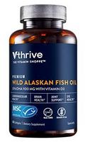 Vthrive Premium Wild Alaskan Fish Oil with Vitamin D3 - DHA 275mg / 825mg EPA (60 Softgels)