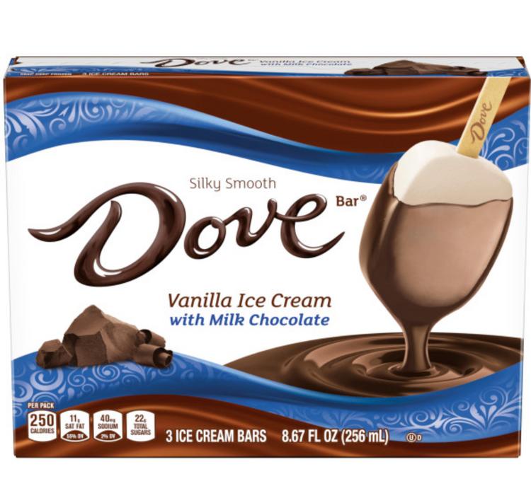 DOVEBAR Vanilla Ice Cream With Milk Chocolate Bars 3-ct Box