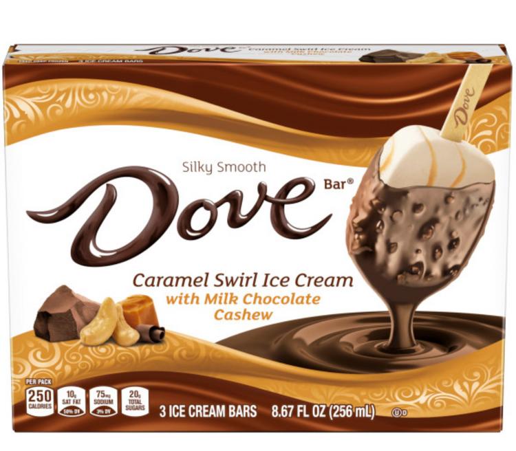 DOVEBAR Caramel Swirl Ice Cream With Milk Chocolate Cashew 3-ct Box