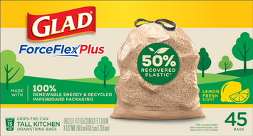 Glad ForceFlexPlus 50% Recovered Plastic Kitchen Trash Bag – Lemon Fresh Scent