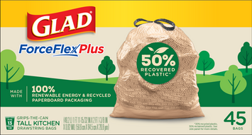 Glad ForceFlexPlus 50% Recovered Plastic Kitchen Trash Bag – No Scent