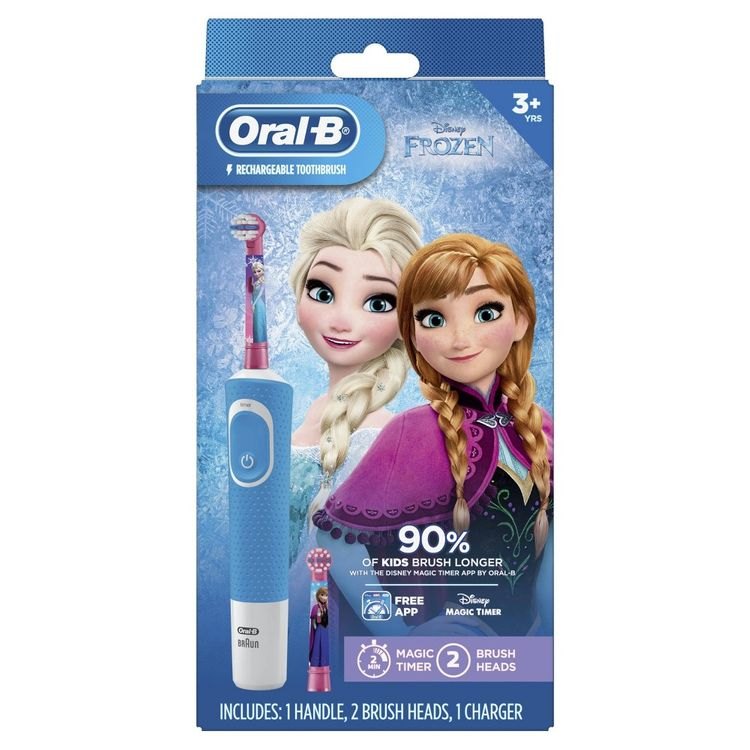 Oral-B Kids Electric Toothbrush Featuring Disney's Frozen with 2 Sensitive Brush heads, Powered by Braun, for Kids 3+