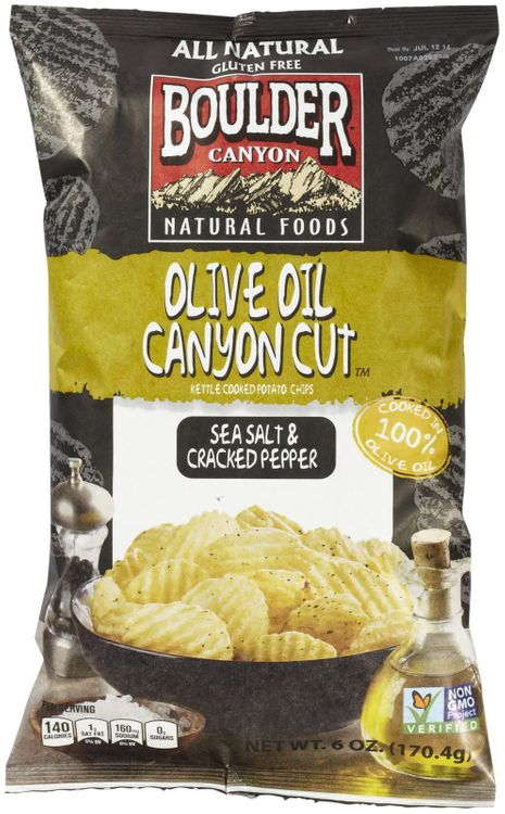 Boulder Canyon Natural Foods Canyon Cut Kettle Cooked Potato Chips Sea Salt and Cracked Pepper 6 oz