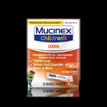 Mucinex Children's Chest Congestion Expectorant and Cough Suppressant Mini-Melts, Orange Cream, 12 Count