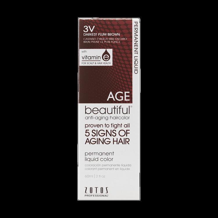 AGEbeautiful Anti-Aging Permanent Liquid Haircolor with Vitamin E 3V Dark Plum Brown