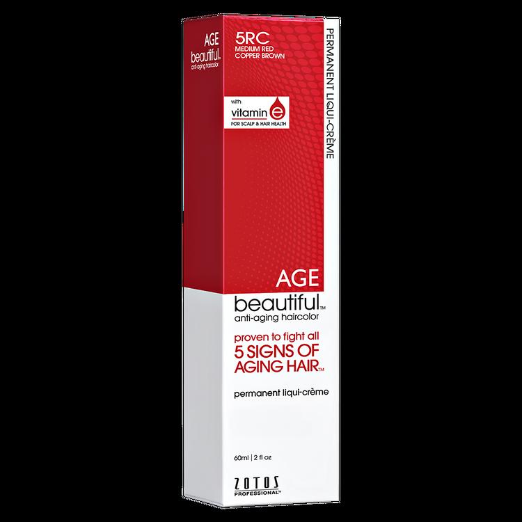 Zotos AGEbeautiful Anti-aging Permanent Liqui-creme Haircolor 5RC Medium Red Copper Brown