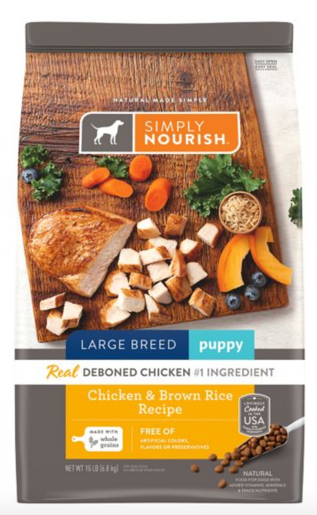 Simply Nourish® Large Breed Puppy Food - Natural, Chicken & Brown Rice