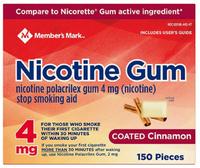 Member's Mark 4 mg Nicotine Polacrilex Gum, Coated Cinnamon (300 ct.)