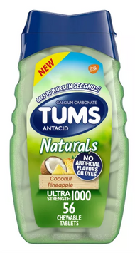 Tums Naturals Ultra Strength Antacid Chewable Tablets - Coconut Pineapple