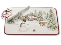Williams Sonoma Snowman Charcuterie and Knife Set