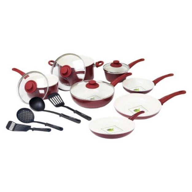 Green Pan GreenLife 15 Piece Ceramic Cookware Set - Burgandy