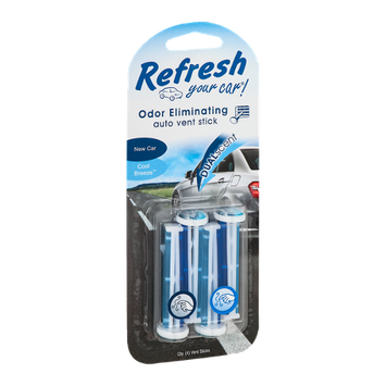 Refresh Your Car! Auto Vent Stick Dual Scent New Car and Cool Breeze - 4 CT