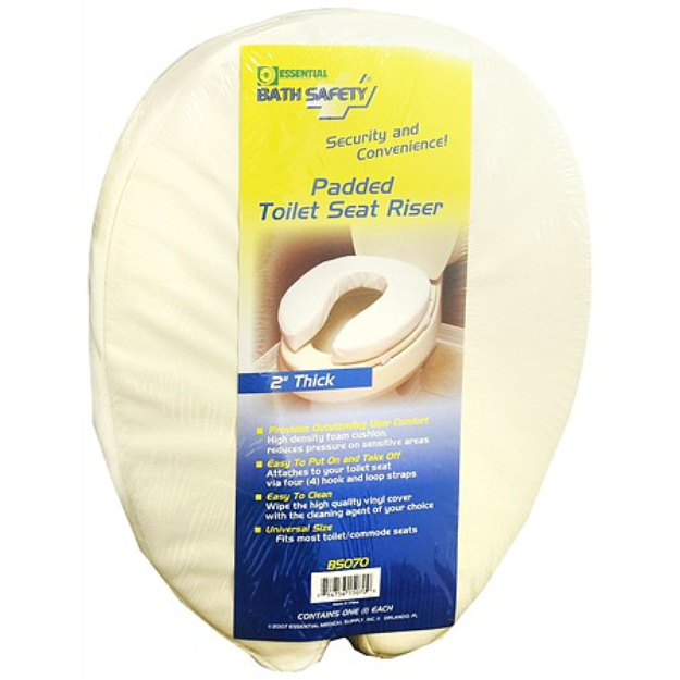 Essential Medical Bath Safety Padded Toilet Seat Riser 2 Inches Thick