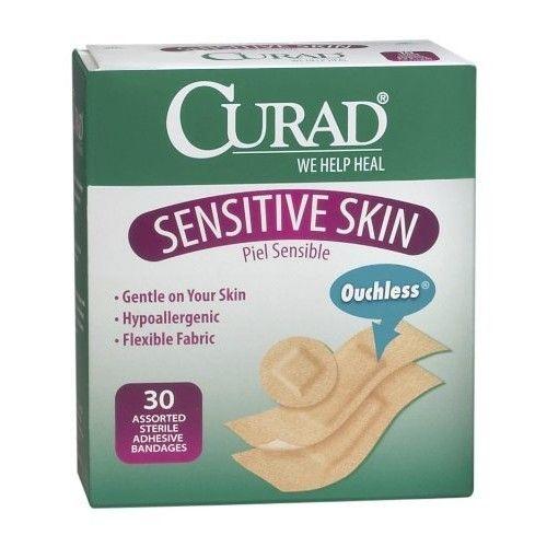 Curad Sensitive Skin Adhesive Bandages, Assorted, 30 bandage (Pack of 24)